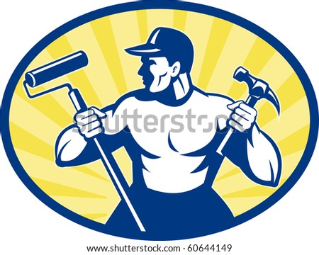 illustration of a carpenter painter with paint roller and hammer set inside ellipse retro style - stock photo
