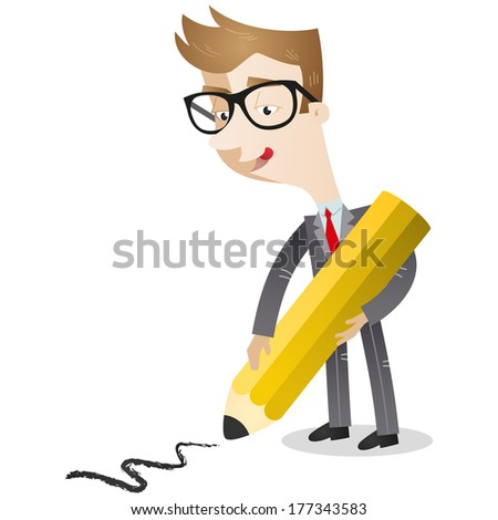 Illustration of a cartoon businessman drawing a line on the floor with huge pencil  - stock photo