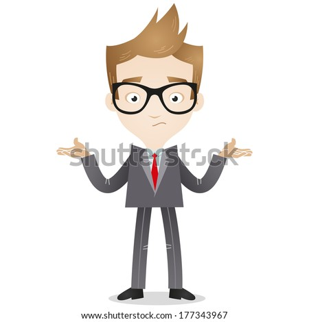 Illustration of a cartoon businessman looking clueless and shrugging his shoulders  - stock photo