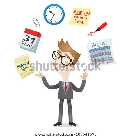 Illustration of a cartoon character: Businessman juggling with time management icons of a calendar, schedule, meeting deadline. - stock photo