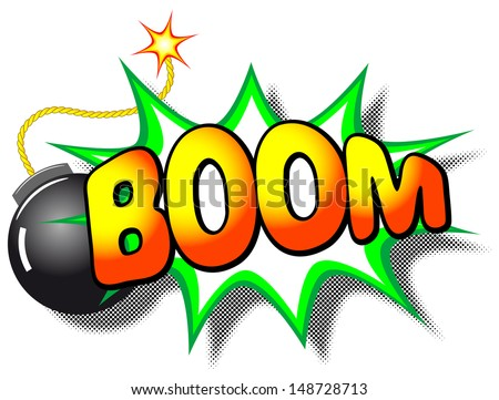 illustration of a cartoon explosion with the word boom - stock photo