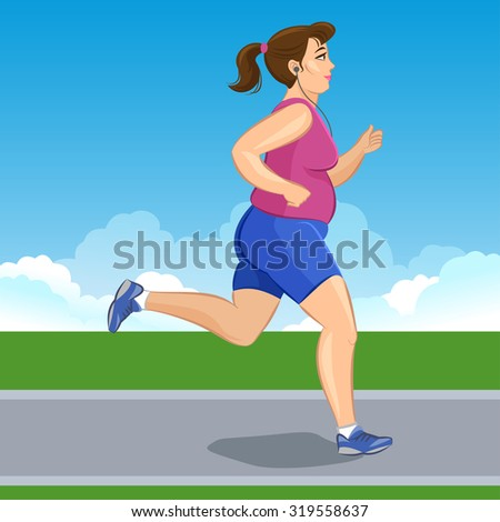 illustration of a cartoon fat girl jogging, weight loss concept, cardio training, health conscious concept running woman.  - stock photo