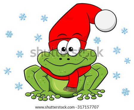 illustration of a cartoon frog with hat and scarf in winter - stock photo