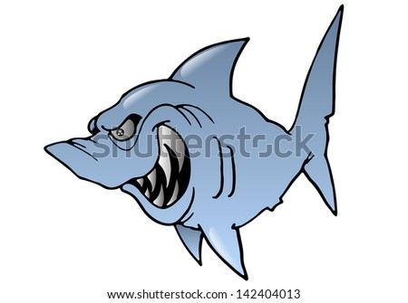 illustration of a cartoon grey hideous Shark on isolated white background - stock photo