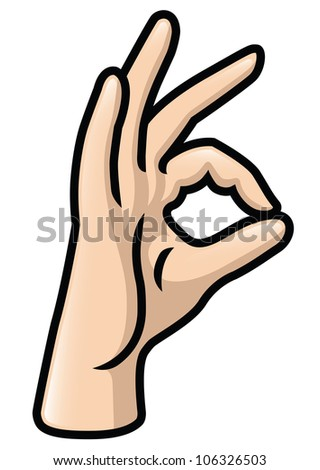 Illustration of a cartoon hand making a pinching gesture with the thumb and index finger. Raster. - stock photo