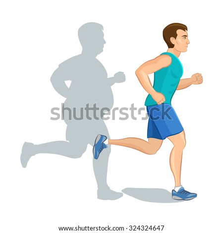 Illustration of a cartoon man jogging, weight loss concept, cardio training, health conscious concept running man, before and after - stock photo
