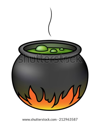 Illustration of a cartoon witches' cauldron brewing over a fire. Raster. - stock photo