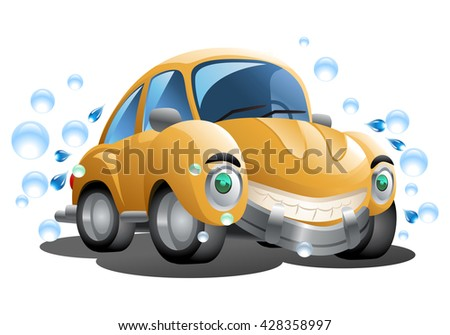 illustration of a cartoon yellow car wash with soap bubble on isolated white background - stock photo