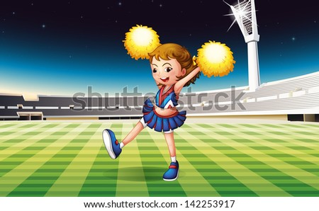 Illustration of a cheerer performing at the stadium - stock photo