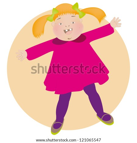 Illustration of a cheerful little girl wants to hug You. - stock photo