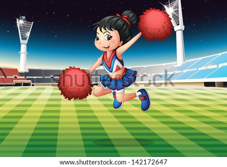 Illustration of a cheerleader performing at the stadium - stock photo