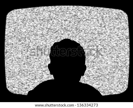 Illustration of a child watching Television - stock photo