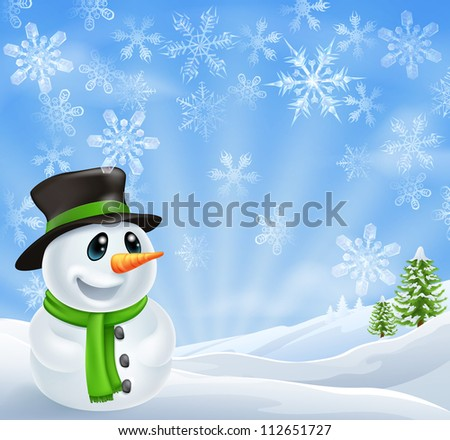 Illustration of a Christmas Snowman Scene with trees covered in snow - stock photo