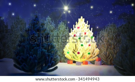 Illustration of a Christmas tree in the middle of a pine forest during the night. The stars sparkle. Calm and quiet landscape. - stock photo