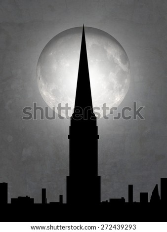 Illustration of a cityscape with tall tower and moon in the background - stock photo