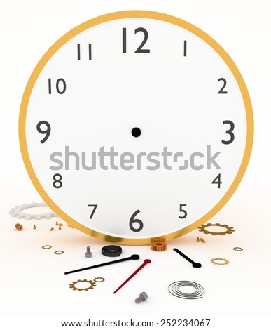 Illustration of a clock or watch with parts scattered across the ground - stock photo