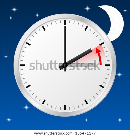 illustration of a clock return to standard time - stock photo