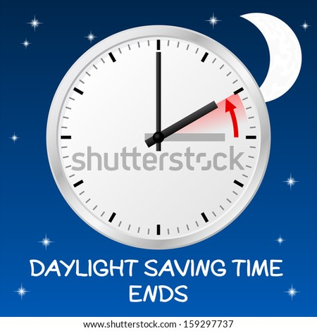 illustration of a clock return to standard time daylight saving time ends - stock photo