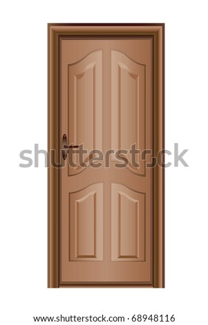 Illustration of a closed door isolated on white - stock photo