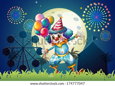 Illustration of a clown with balloons standing in front of the carnival - stock photo