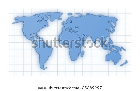 illustration of a colored world map isolated on white background - stock photo