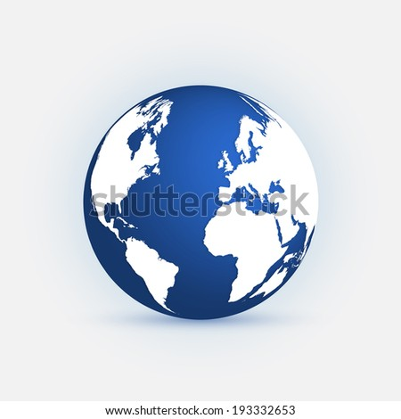 Illustration of a colorful blue earth isolated on a light background. - stock photo