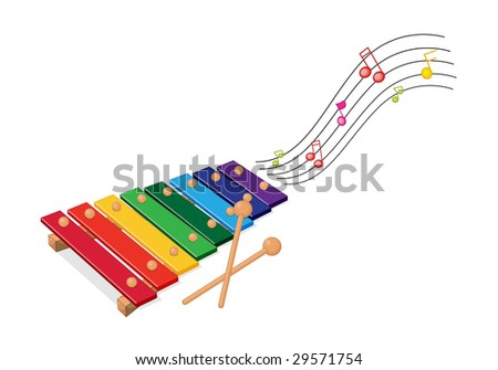 illustration of a colorful xylophone - stock photo