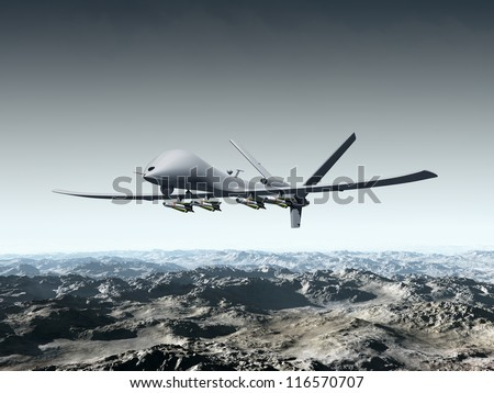 Illustration of a combat drone flying over barren mountains - stock photo
