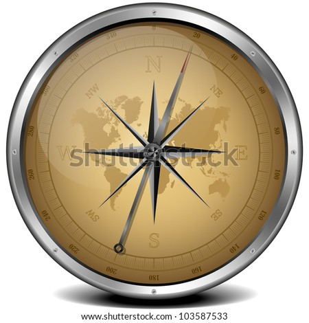 illustration of a compass with sand color scheme - stock photo