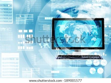 Illustration of a computer doing a data processing in worldwide internet connection - stock photo