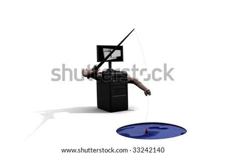 Illustration of a computer sending emails to phish for confidential information such as bank details. - stock photo