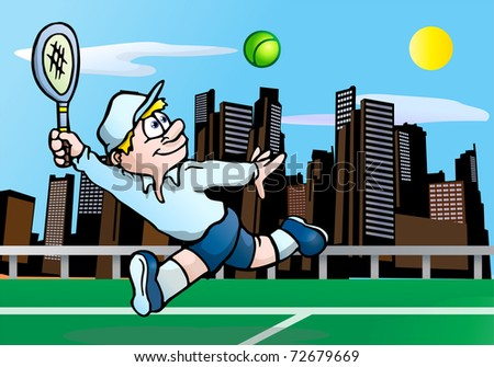 illustration of a concentrated tennis player ready to  hits the tennis ball - stock photo