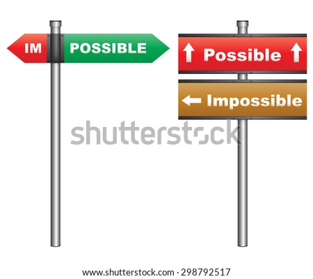 Illustration of a conceptual signboard about possibilities impossible and possible - stock photo