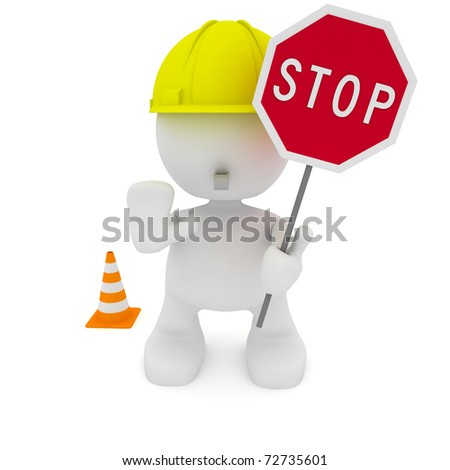 Illustration of a construction worker motioning to stop.  Part of my cute little people series. - stock photo