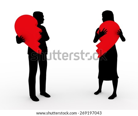 Illustration of a couple holding two parts of the same heart - stock photo