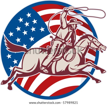 illustration of a cowboy riding horse with lasso and american flag - stock photo