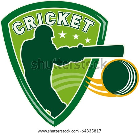 illustration of a cricket sports player batsman silhouette batting set inside shield with ball flying isolated on white - stock photo