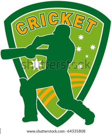 illustration of a cricket sports player batsman silhouette batting set inside shield with stars of australian flag greenand gold - stock photo