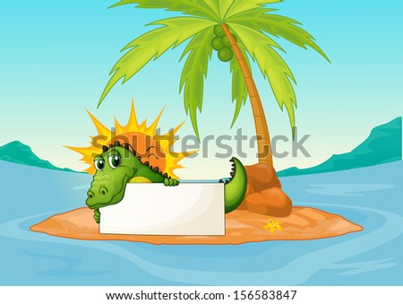 Illustration of a crocodile holding an empty signboard in a small island  - stock photo