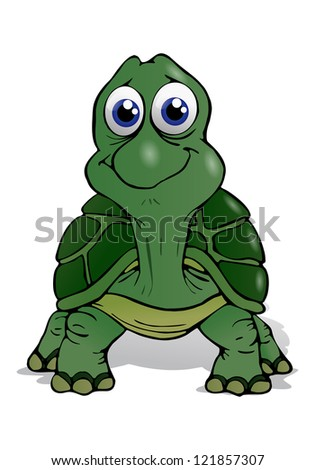 illustration of a cute baby turtle  on isolated white background - stock photo