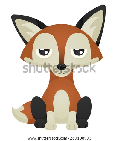 Illustration of a cute cartoon fox sitting with an unimpressed expression. Raster. - stock photo