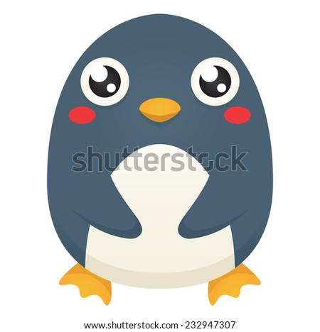 Illustration of a cute cartoon penguin with a neutral expression, patting its belly. Raster. - stock photo