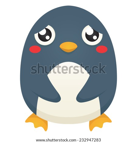Illustration of a cute cartoon penguin with a sad expression. Raster. - stock photo