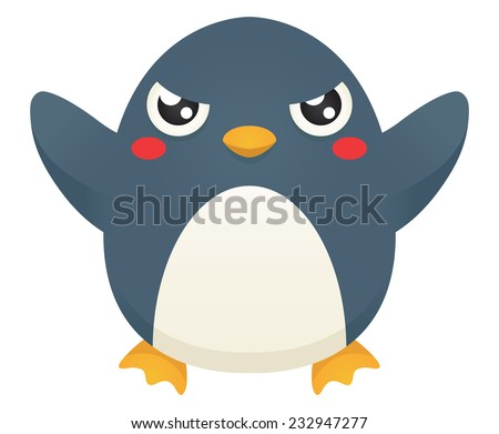 Illustration of a cute cartoon penguin with an angry expression. Raster. - stock photo