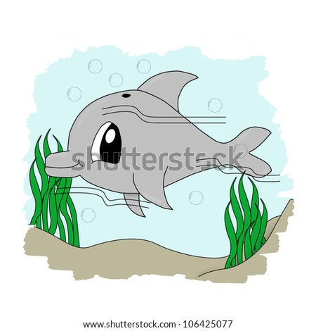 Illustration of a cute dolphin underwater with sand and seaweed - stock photo