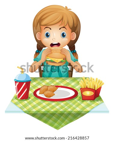 Illustration of a cute girl eating on a white background - stock photo