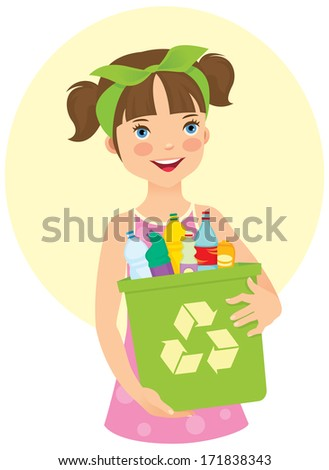 Illustration of a cute little girl cares about the environment/Little girl holding recycling bin/Girl holding a dumpster filled with household waste - stock photo