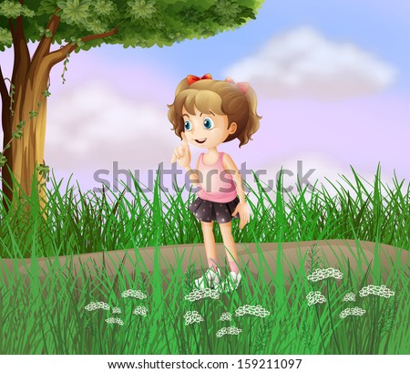 Illustration of a cute little girl walking in the street - stock photo