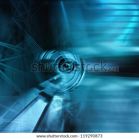 illustration of a cyborg eye in blue tones - stock photo