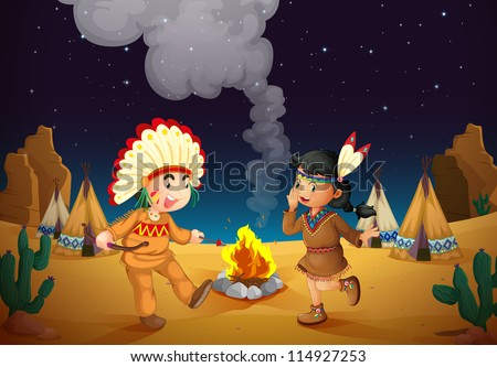 illustration of a dancing boy and girl in night sky - stock photo